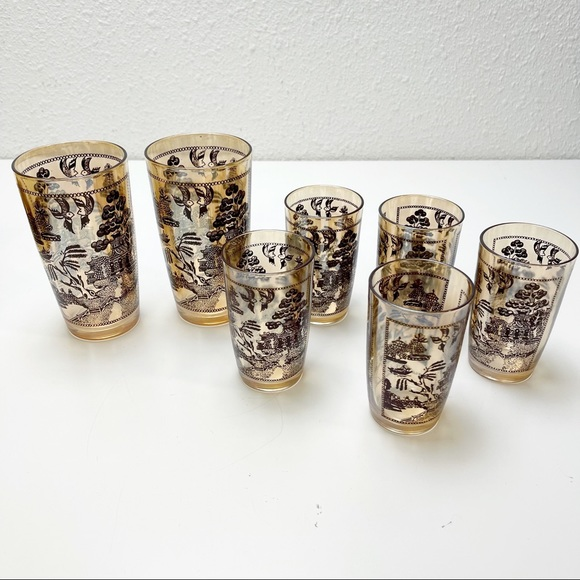 Set 7 Vtg MCM Asian Landscape Glasses Juice Tumble